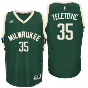 100% Hight Quality Milwaukee Bucks Mirza Teletovic 2016 Road Green Gear Swingman KAZ2816