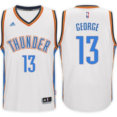 2018 Online Sale Oklahoma City Thunder #13 Paul George Home White Swingman Apparel GGO3083