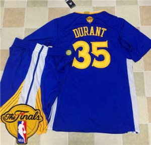 Attractive Warriors #35 Gear Kevin Durant Blue Long Sleeve A Set The Finals Patch Stitched Suit WOO1865