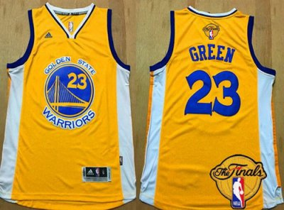 Beautiful Golden Jersey State Warriors #23 Draymond Green Yellow 2016 The Finals Patch SJF16