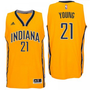 Best Indiana Pacers #21 Thaddeus Young 2016 Alternate Gold Jersey Swingman DPW1992