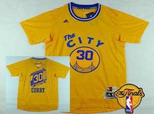 Discount Golden State Warriors #30 Stephen Curry Yellow Short Sleeve 2016 The Finals Clothing Patch XGJ33