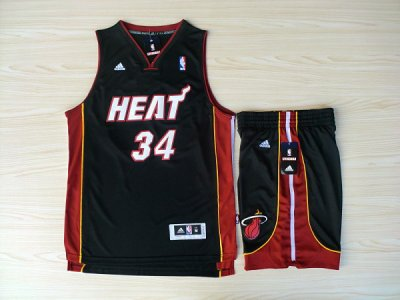 Exactly Fit Revolution 30 Shorts Miami Heat #34 Ray Allen Swingman Black NBA Rev Basketball Suits OGH4519