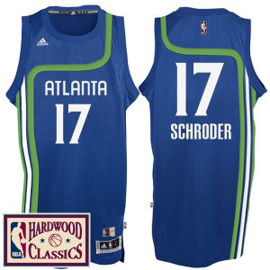 Fast Shipping Atlanta Hawks #17 Dennis Schroder 2016 17 Season Royal Hardwood Gear Classics Throwback Swingman WEY355