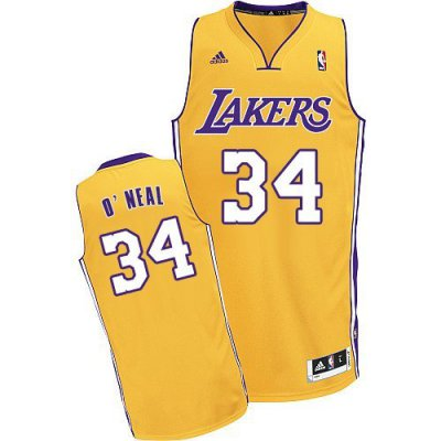 Guarantee Quality Los Angeles Lakers 34 Jerseys Shaquille ONeal Revolution 30 Swingman Yellow YLQ2422