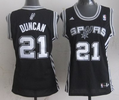 High Quality Women San Antonio Merchandise Spurs 21 Tim Duncan Black KLU4423