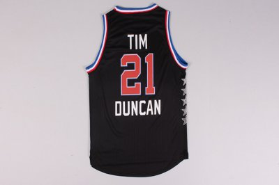 Official 2015 All Star NYC Western Conference #21 Apparel Tim Duncan Black QNO168