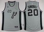 On Sale San Antonio Spurs #20 Manu Ginobili Revolution 30 Swingman 2015 16 Gear Gray OUG3695