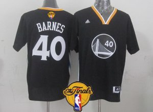 Chic Golden Merchandise State Warriors #40 Harrison Barnes Black Short Sleeved 2016 The Finals Patch QAM34