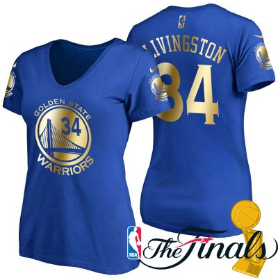Genuine Women's 2017 Finals Golden State Warriors #34 Shaun Livingston Royal Clothing Gilding Name & Number T Shirt XHH4222