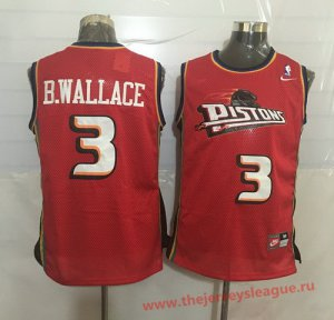 Guarantee Quality Detroit Jersey Pistons #3 Ben Wallace Red Hardwood Classics Soul Swingman Throwback HGY1387
