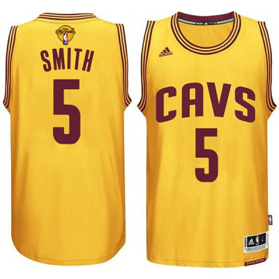 Hot Cheap Cleveland Basketball Cavaliers #5 JR Smith 2015 16 Finals Gold DHI291