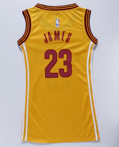 Hot Deal Women Cleveland Cavaliers 23 LeBron James yellow dress Basketball JIV4283
