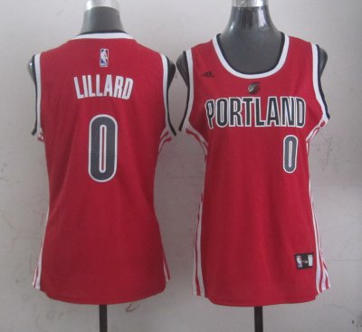 Online Cheap Portland Trail Blazers Apparel 0 Damian Lillard Red Women WWZ4308