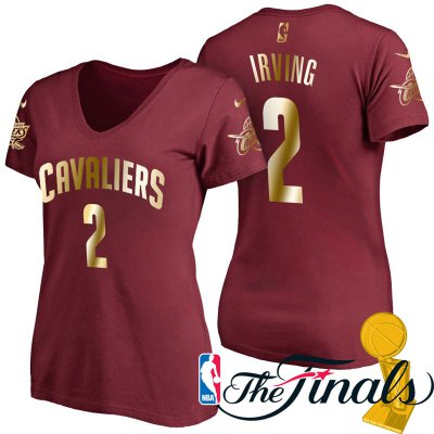 Online sales Women's 2017 Finals Cleveland Cavaliers #2 Kyrie Irving Wine Gilding Name & Number T Shirt Apparel QFF4243