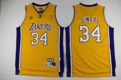 Real Los Angeles Lakers #34 Gear Swingman Shaquille O'Neal Throwback Gold ERE2375