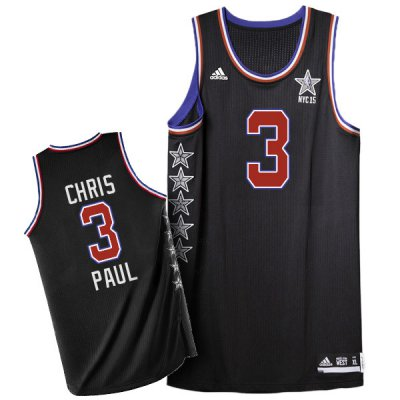 Sale Online 2015 All Star NYC Western Conference #3 Chris Paul Jersey Black QBU164