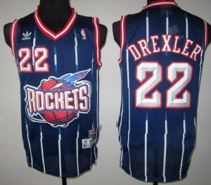 special Houston Rockets #22 Clyde Drexler Navy Gear Blue ATH1933