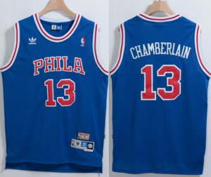 Buy Authentic Philadelphia 76ers #13 Clothing Wilt Chamberlain Blue Throwback Stitched ZGP3248