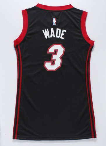 Durable Women Miami Jersey Heat 3 Dwyane Wade black Dress YRF4267