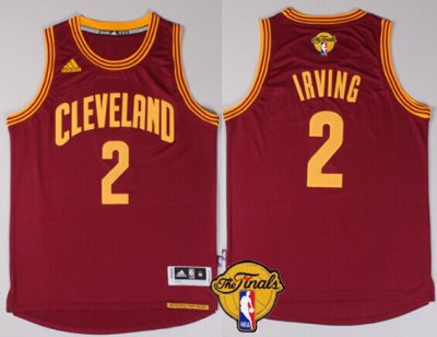 Fashion NBA Cleveland Cavaliers #2 Kyrie Irving 2016 The Finals Patch Red RAQ269