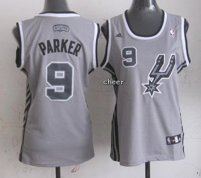 Fashion Women Jerseys San Antonio Spurs #9 PARKER grey OLE4328