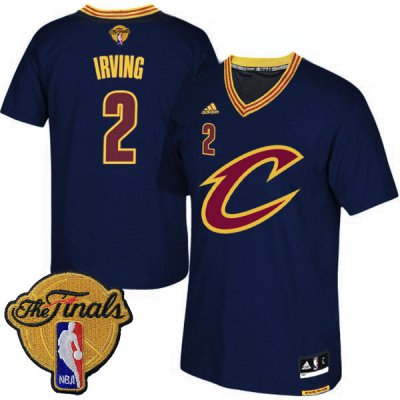 Fast Shipping 2016 Gear Finals Cleveland Cavaliers #2 Kyrie Irving Navy Blue Short Sleeved FNH253