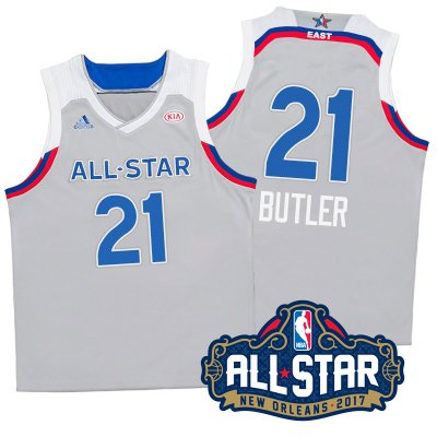 Fast Shipping 2017 Orleans All Star Eastern Conference Bulls #21 NBA Jimmy Butler Gray ZMM331