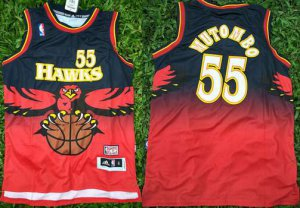 New Style Atlanta Hawks #55 Dikembe Mutombo Jersey 1990 Red Hardwood Throwback MMK373