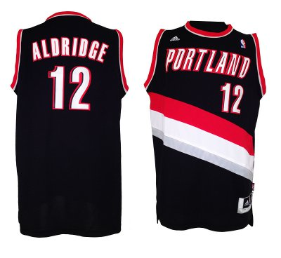 Online Cheap Portland Blazers Aldridge #12 Basketball Black NPM3483