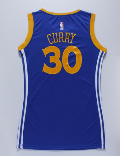 Smooth Women Golden State Clothing Warriors 30 Stephen Curry Blue Dress GBR4255