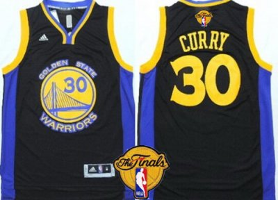 Tailored Golden Gear State Warriors #30 Stephen Curry Black With Blue Edge 2016 The Finals Patch LSH19