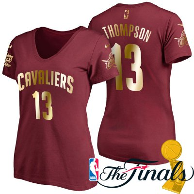 Authentic Women's 2017 Finals Cleveland Cavaliers #13 Tristan Thompson Wine Gilding Name Apparel & Number T Shirt NCC4242