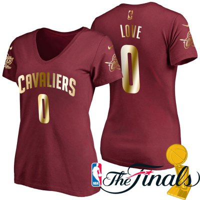 Big discount Women's 2017 Jersey Finals Cleveland Cavaliers #0 Kevin Love Wine Gilding Name & Number T Shirt QRV4241
