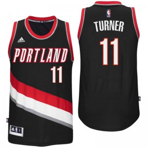 Breathable Portland Trail Blazers #11 Evan Turner 2016 Road Jersey Black Swingman ZMY3469