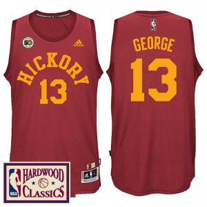 Buy Authentic Indiana Pacers #13 Paul George 2016 Gear 17 50th Season Red Hardwood Classics Throwback SQT1983
