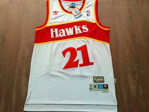 Cheap Sale Atlanta Hawks #21 Jersey Dominique Wilkins White Hardwood Classics Swingman Throwback GKP380