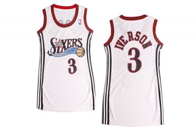 Cheap Sale Women Philadelphia 76ers Apparel 3 Allen Iverson White Dress GCQ4421