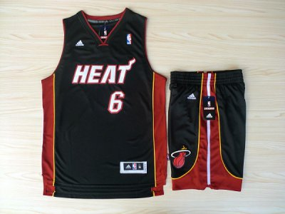 Cheap and good Revolution 30 Shorts Miami Heat #6 Merchandise Lebron James Swingman Black Rev Basketball Suits RTN4522