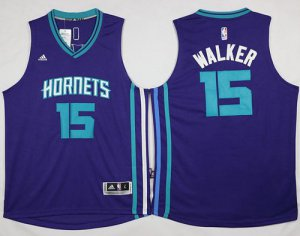 Exactly Fit Revolution Jersey 30 Hornets #15 Kemba Walker Purple Stitched PNO624