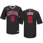 Fashion Chicago Clothing Bulls #8 Robin Lopez Road Black Pride Sleeved Swingman EKG697