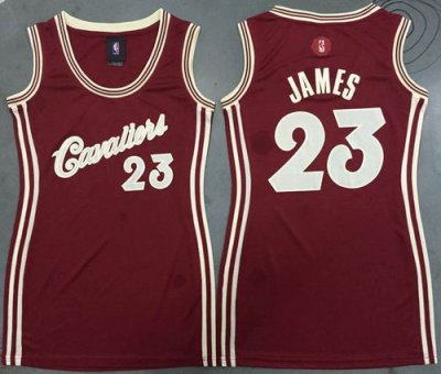 Hot On Sale Cavaliers Clothing #23 LeBron James Red 2015 2016 Christmas Day Women's Dress Stitched ZJI4231