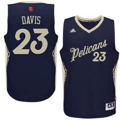 Hot Sale Cheap Pelicans Clothing #23 Anthony Davis Navy 2015 2016 Christmas Day Stitched CNJ1009