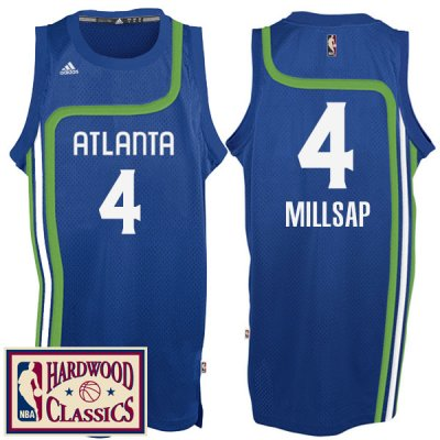 Lowest Price Atlanta Hawks #4 Basketball Paul Millsap 2016 17 Season Royal Hardwood Classics Throwback Swingman IEA358