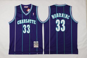 Originals Mitchell And Ness Charlotte Hornets #33 Alonzo Mourning NBA Purple Throwback Stitched TVS630