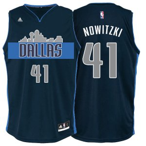 100% Hight Quality Dallas Mavericks #41 Dirk Nowitzki Gear Cityscape Navy Blue Alternate PYI1272