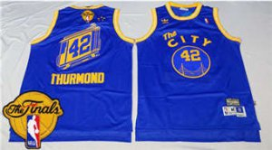 Fine fabric Warriors #42 Nate Thurmond Blue Throwback The City The Finals Patch Apparel Stitched TMU1876