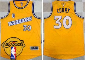 Genuine Warriors #30 Stephen Curry Gold Jersey Throwback The Finals Patch Stitched MOW1849