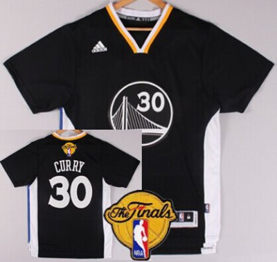 Hot On Sale Golden State Warriors #30 Stephen Curry Black Short Sleeved 2016 NBA The Finals Patch RBP18