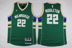 New Style Milwaukee Jerseys Bucks #22 Khris Middleton Revolution 30 Swingman 2015 16 Green YZB2826